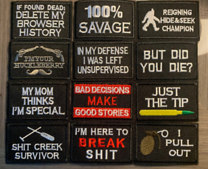 Novelty Morale Patch Funny Word Embroidered Hook or Iron On Patch