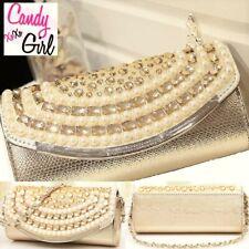 Stunning Gold Slimline Pearl & Beaded Envelope Clutch Bag