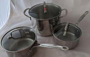 Cuisinart Stainless Steel 6 Piece Set 3 Cookware Pans 5.75 Qt 2.5 Qt 1.5 Qt
