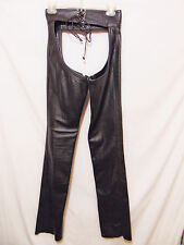 "Vtg 80s/90s RUBIO LEATHER New York Chaps W 25"" x L 35"" Black Sexy Zip Tall Talon"