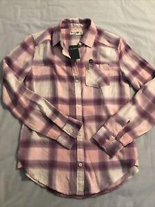 NWT Abercrombie Kids Girls Lavender Plaid Flannel Shirt Size 13/14