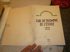 100e Anniversaire Arc de Triomphe de l Etoile 1836-1936 Paris Léandre Vaillat