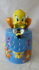 Warner Brothers 1998 Tweety Bird With Honey Bee Flower Pot Cookie Jar #B864