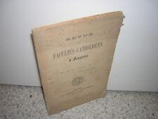 1891.revue faculté catholique d'Angers.1ère année N°1.histoire faculté Angers