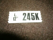 1967 FORD MUSTANG 289HIPO K CODE ENGINE CODE DECAL 245K
