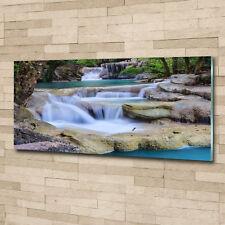 Glas-Bild Wandbilder Druck auf Glas 125x50 Deko Landschaften Kaskade im Wald