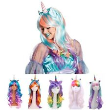 Girl Party Unicorn Cosplay Wig Rainbow Ponytail Long Curly Full Hair Fancy Dress