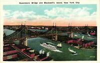 Vintage Postcard - Queenboro Bridge & Blackwell's Island New York City NY #4562