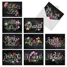 M2358TYB Chalk And Roses: 10 Assorted Blank Thank You Note Cards /Envelopes.