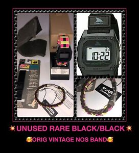 ORIG vTg Freestyle USA BLACK Classic Clip Shark Mens Watch 103326 UNUSED LOT SET
