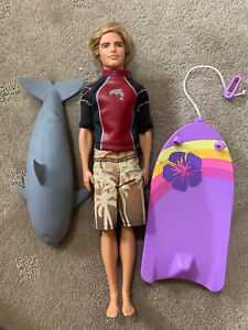 Mattel Barbie Fashionista Ken Rooted Hair Surfer Doll w/Boogie Board And Dolphin