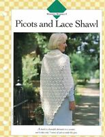 Ladies Picot and Lace Shawl Single Pattern Vanna White Uses only 7oz of Yarn