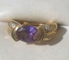 fine 14k yellow gold amethyst diamond ring size 6