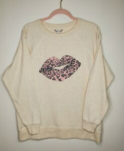 Wildfox Statement Sweatshirt Lips Kiss Women's Size Large Oatmeal Pink Leopard