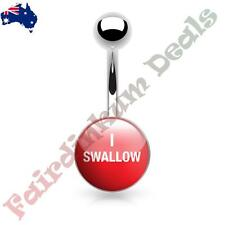 316L Surgical Steel Belly Ring with I Swallow Logo