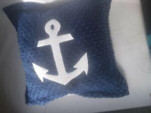 Minky Cuddle Dimple Handmade Beautiful Nautical Achor Applique Cushion Pillow