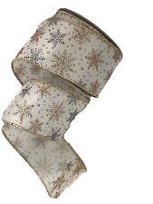 Christmas Ribbon Cream/Gold/Silver 2.5� X 25 Feet Snowflakes