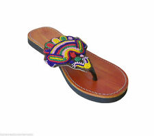 Women Slippers Indian Handmade Leather Traditional Camel Flat US 10