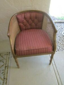 Vintage Hollywood Regency Faux Bamboo Barrel Back Arm Chair Cane Side And Fabric