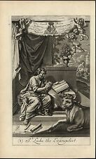 St Luke the Evangelist Peaceful Bull Gospel 1690 old original engraved print