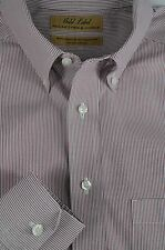 Roundtree & Yorke Men's Red & White Striped Pinpoint Cotton Dress Shirt 16 x 34