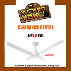 Heller 1200mm 4 Blade 3 Speed White Aluminium Ceiling Fan 'Angus' -NEW