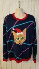 33 Degrees Sweater Mens Santa Cat Ugly Christmas Sweater with Lights Size L NEW