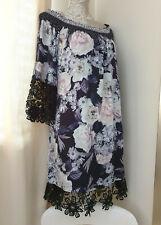 Hale Bob Ladies Boho Tunic Dress Off Shoulder Bardot Shirred Floral Lace Summer