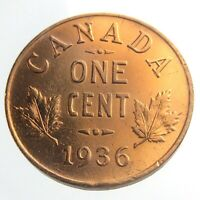 1936 Canada One 1 Cent Penny Copper Canadian Whizzed George V Coin P444