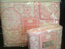 NEW LACEY TWIN QUILT & SHAM SET ~ PINK WHITE FLORAL BUTTERFLY