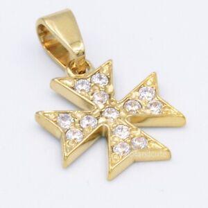 MALTESE CROSS 9ct Gold Amalfi Pendant Genuine Hallmarked 375 Cubic Zirconia Box