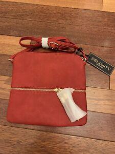 DELUXITY Red Purse Crossbody Bag Tassels Adjustable Shoulder Strap Gold Hardware