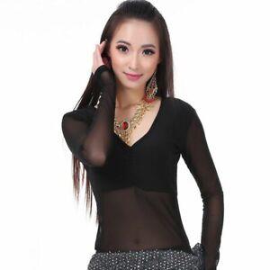 Damen Netz Top Bauchtanzen Tanz Kleidung V-Ausschnitt Langärmelig Elasthan Sitz