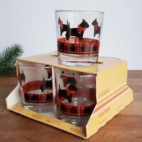 Anchor Hocking Fitz Set of 4 Scotty Dog Rocks Old Fashioned Glasses Original Box