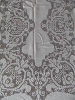 vtg antique crochet tablecloth rectangle oblong 54x90 ecru cotton Delicate MINT