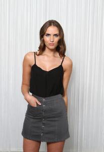 DeMina Ladies Grey Denim Mini Skirt A-Line Round Patch Pockets Grey-Alissa