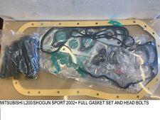 mitsubishi L200 Shogun Sport Engine FULL GASKET SET & HEAD BOLTS  BRAND NEW