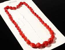 """20"""" necklace element chunky red twist pinched oval Czech vintage glass beads"""