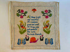 Vintage Sampler All Creatures Great And Small 1970s Bright Colors Ode to Animals