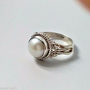 Freshwater Pearl Ring 925 Solid Sterling Silver Handmade Jewelry Size 3-14 US