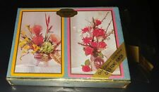 Vintage congress flower bouquet playing cards 2 Decks in velvet cel-u-tone box