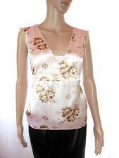 VERO MODA Womens Summer Casual Silky Satin Floral Print Secretary Top sz M AI61