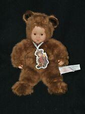 Peluche doudou poupée ours ANNE GEDDES brun marron visage plastique 30 cm TTBE