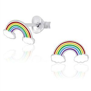 925 Sterling Silver White Cloud Rainbow Stud Earrings Cute Kids Women Girls