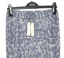 M&S Marks s10 Reg Med Indigo Blue Print Pull On Tapered Leg Soft Trousers BNWT