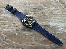 Leather Watch strap, Watch band, 19mm,20mm cuff band, Blue, FREE SHIPPING