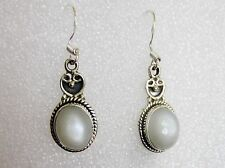 White Moonstone Earrings in 925 Sterling Silver -- 6..14cts