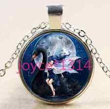 Vintage Black Swan and fairy Cabochon silver Glass Chain Pendant Necklace #1919