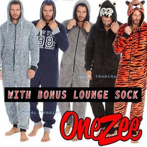 1Onesie Mens Boys Onezee Casual Soft Fleece Hooded All in One Pyjamas Pjs + sock
