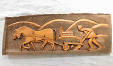 Vintage carved wood panel wooden picture Farmer and horse plough French folk art
